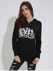Gothic Graphic Print Pullover Hoodie - BLACK XL