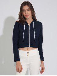 Zip Up Cropped Hoodie with Drawstring