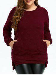Plus Size Quilted Long Sleeve High Low Top