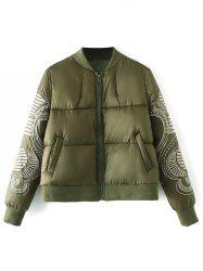 Zip Embroidered Padded Jacket -