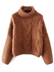 Oversized Turtle Neck Cable Knit Sweater -
