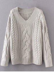 V Neck Pullover Cable Knit Sweater -