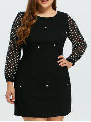 Plus Size Chiffon Insert Long Sleeve A Line Dress - BLACK 5XL