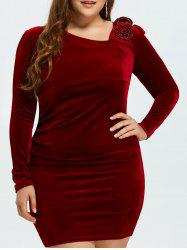 Plus Size Long Sleeve Ruched Velvet Bodycon Dress -
