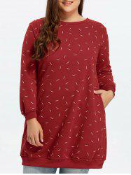 Plus Size Fleece Lined Long Sleeve Straight Dress - RED 5XL