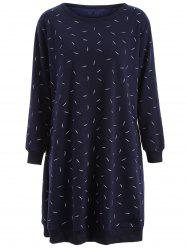Plus Size Fleece Lined Long Sleeve Straight Dress