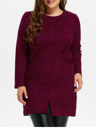 Plus Size Furcal Long Sleeve Fitted Dress -