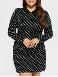 Plus Size Long Sleeve Stripe Mini Dress -
