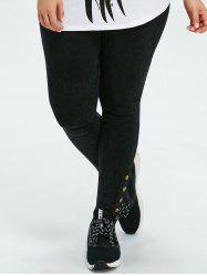 Plus Size Skinny Button High Rise Pants -