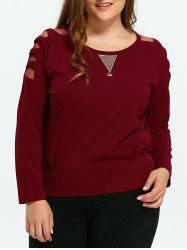 Plus Size Mesh Panel Long Sleeve Tee