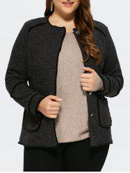 Plus Size Button Up Cardigan With Pocket