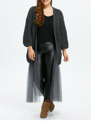 Plus Size Mesh Insert Chunky Duster Cardigan - GRAY