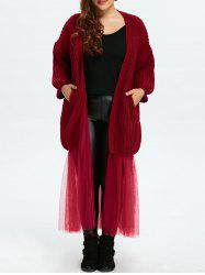 Plus Size Mesh Insert Chunky Duster Cardigan - WINE RED