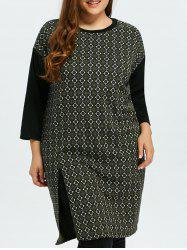 Plus Size Slit Argyle Dress