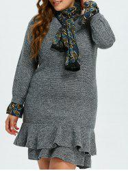 Long Sleeve Plus Size Mermaid Dress With Scarf