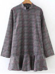 Plaid High Collar Ruffle Hem Dress - GRAY L