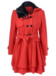 Layered Double Breasted Skirted Pea Coat With Belt -