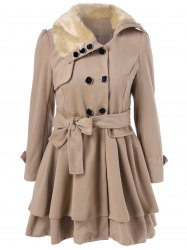 Layered Double Breasted Pea Coat With Belt - KHAKI