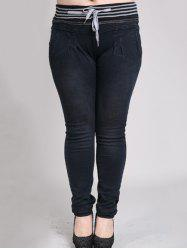 Drawstring Waist Striped Panel Skinny Jeans -