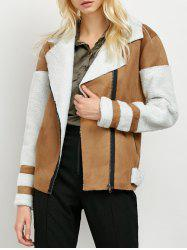 Faux Fur Panel Suede Biker Jacket -