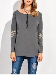 Sequin Long Sleeve Drop Shoulder T-Shirt -