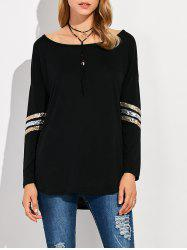 Sequin Long Sleeve Drop Shoulder T-Shirt