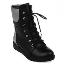 Round Toe Lace Up Color Block Ankle Boots