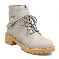 Vintage Cross Strap Buckle Ankle Boots -