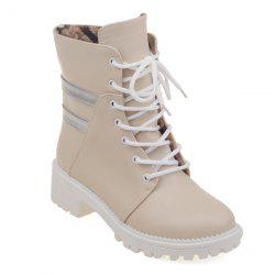 Round Toe Panel Lace Up Ankle Boots -