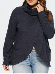 Plus Size Turtleneck Overlap T-Shirt