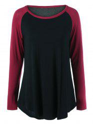 Plus Size Long Raglan Sleeve Curved Hem T-Shirt