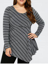 Plus Size Asymmetrical Striped T-Shirt -