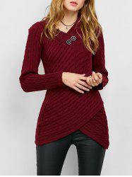 Button Decorated Overlap Sweater - BURGUNDY M