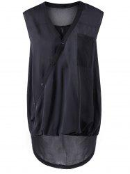 Asymmetric Collar Black Sleeveless Blouse - BLACK S