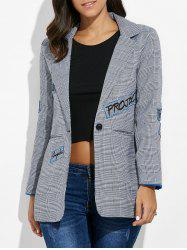 One Button Letter Embroidery Blazer -