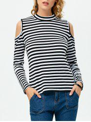 High Neck Cold Shoulder Stripe Tee - WHITE/BLACK L