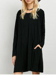 Long Sleeves Boyfriend Loose Fitting T-Shirt Dress -