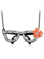 Rhinestone Glasses Flower Necklace