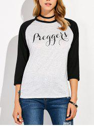 Printed Raglan Sleeves T-Shirt -