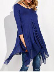 Long Sleeve Asymmetrical Handkerchief Long T-Shirt - BLUE XL