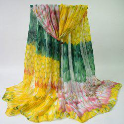 Breathable Feathers Print Shawl Wrap Voile Scarf -