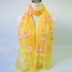 Lightweight Flower Applique Lace Tassel Chiffon Scarf -