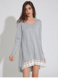 Long Sleeve Asymmetric Swing Dress with Lace - LIGHT GRAY