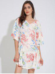 Floral Print Raglan Sleeve Tunic Dress