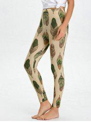 High Waist Skinny Leaf Print Leggings - APRICOT