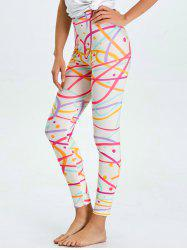 High Waist Skinny Graphic Leggings - WHITE