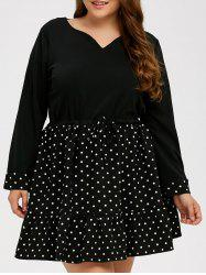 Polka Dot Plus Size A Line Dress -