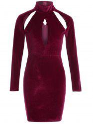Long Sleeve Cut Out High Neck Bodycon Velvet Dress