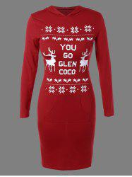 Christmas Snowflake Deer Print Hoodie Dress