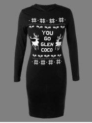 Christmas Snowflake Deer Print Hoodie Dress -